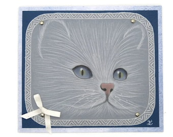 """Pergamano card """"Cat of exception"""" lace paper / / cat card / / cat Collection / / cat lovers / / Persian Cat"""
