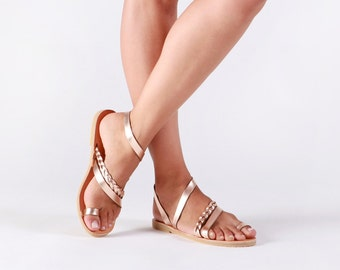 Greek leather sandals, Women sandals, Leather sandals women, Gladiator sandals, Rose gold sandals, Wedding sandals, SERENADE