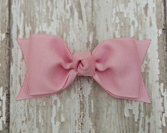 Pink Tuxedo Style Toddler Hair Bow 3 Inch Alligator Clip Baby Hairbow