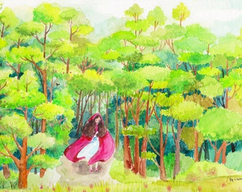 Girl in the forest. Original watercolor art.