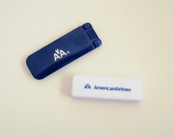 American Airlines Toothbrush and Lint Brush Shoe Horn Combo, 1970s Amenities