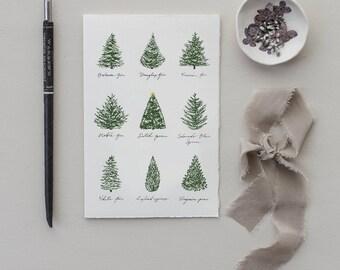 Christmas Tree Medley Modern Christmas Card | Set of 8 Holiday Cards | blank Christmas card, holiday stationery, Christmas tree card set