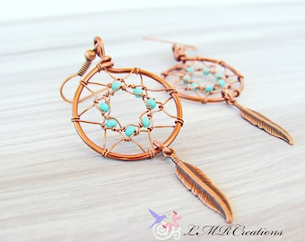 Dream Catcher Earrings, Antiqued Copper Dangle Earrings with Blue Beads, Wire Wrapped Jewelry, Southwestern Earrings
