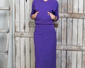 Womens skirt suit - Women skirt set - Purple skirt set - Casual skirt set - Maxi skirt suit - Knitted skirt suit - Women knitted skirt set