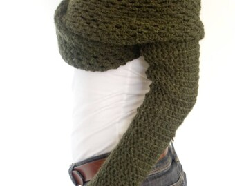 Shrug Crochet PATTERN - Wrap Around Thumb Holes Shrug/ Modern Chunky Shoulders Cover-up/Convertible Scarf with Sleeves