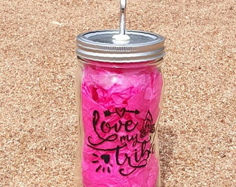 Love My Tribe - Hand-Painted 28oz Glass Mason Jar with Stainless Steel Straw - Glass Bottle - Personalized Glass Cup - Curved Mason Jar