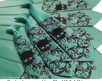 RokGear skull necktie print - Wedding set of 4 mens neckties and 1 boys necktie - Print to order in colors of your choice