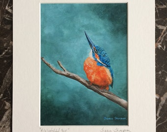 Kingfisher fine art print, European Kingfisher art, bird wall art, turquoise wall art, Turquoise and orange, cute water bird art, water bird