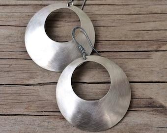 Hammered Antiqued Silver Hoop Handmade Earrings