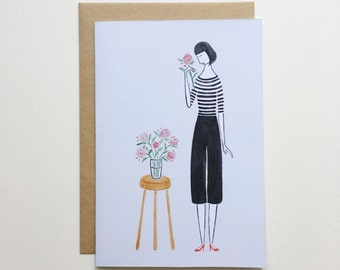 Stripes and Roses - Greeting Card