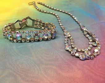 Vintage Aurora Borealis Rhinestone Choker Necklace and Bracelet matching jewelry set, wedding, bridal, cocktail occasion