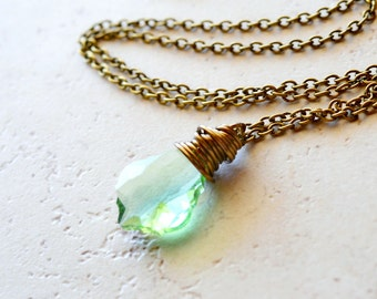 Light Green Crystal Necklace, Simple Antique Brass Wire Wrap Peridot Swarovski Crystal, Minimalist Jewelry