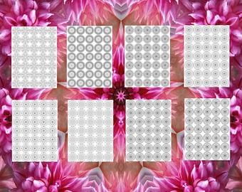 20 Mandala Adult Coloring Book Patterns 5  Rows 8.5X11 Printable Instant Download PDF