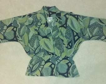 Vintage Green Abstract Leaf Print Blouse Size 13/14