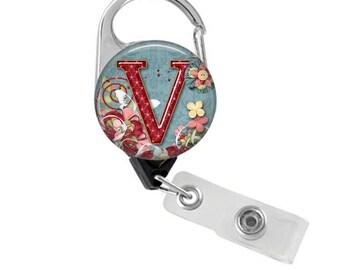 Nurse Badge Holder, Retractable Badge Reel,  RN Badge, Personalized Name Badge, Nurse Badge Reel, Flowers & Butterfly, Carabiner Reel  201B