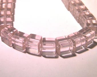 30 glass - cube with 10 mm - fashion Crystal beads - pink light-K20-8