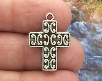 10 Silver Cross Charm Pendant 22x16mm by TIJC SP0253