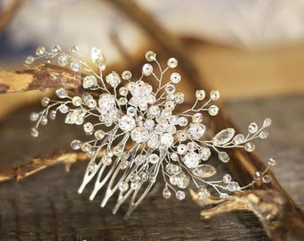 Crystal hair comb Bridal headpiece Wedding hair comb Leaf hair comb Bridal hair accessories Bridal hair clip Wedding headpiece Bride hair