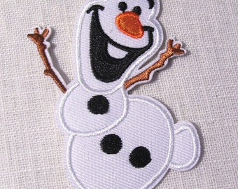 Snow Christmas OLAF SNOWMAN * 6 x 9 cm * Applique badge patch embroidered iron - iron