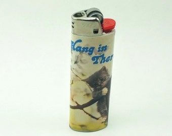 """Custom """"Hang In There"""" Cat Lighter"""