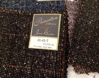 Quality Mid Century Wool and Silk Suiting Fabric 10 - 11 1/2 OZ Princeton Samples
