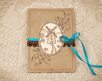 Concertina, Accordion Photo Album Windmill in beige, dark brown and blue colors with handmade (recycled) paper
