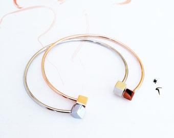 Silver Bangle Bracelet Double Cube Bangle Bracelet