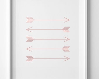 Pink arrows, pink nursery decor, arrow print, coral nursery art, printable wall art, coral wall art, coral wall prints, pink arrow wall art