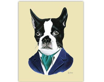 Boston Terrier Dog art print by Ryan Berkley 11x14