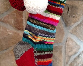 Old Fashioned Hand Knit Christmas Stocking Gray Red Fir Tree Rag Series Rainbow stripe