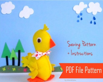 Duck pattern, felt duck sewing pattern Toy, Baby Duck patter rubber duck, Duckling, Felt Duck Toy , Duck Baby Shower pattern, A805
