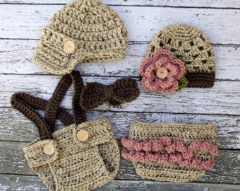 Vintage Twin Photography Prop Set in Oatmeal, Dusty Pink and Taupe Available in 3 Sizes- MADE TO ORDER