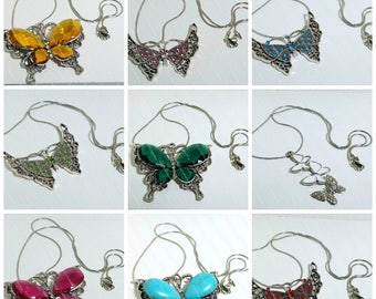 9 different Rhinestone and Faceted Glass Butterfly Necklaces