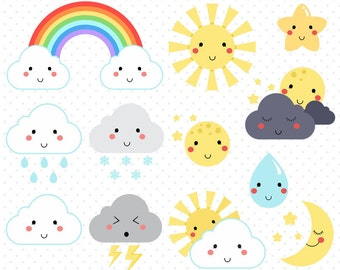 50% OFF Cute Weather Icons clip art - Commercial use - Moon, sun, and rainbow vector, sunny or rainy day icons- C010