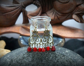 Red glass beads and bronze chandelier earrings