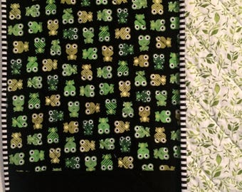 Gender neutral quilt, baby boy quilt, baby girl quilt, toddler quilt, modern quilt, nursery bedding, frogs, animal prints, green, black