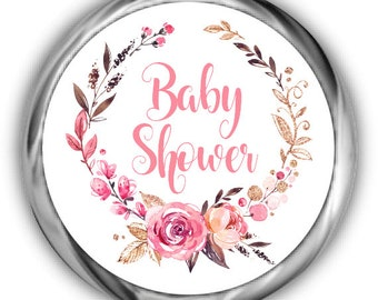 Boho Baby Shower Hershey Kisses Stickers - Girl Floral Baby Shower Sticker