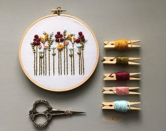 Modern Hand Embroidery Kit - Wildflower Autumn Vibes, DIY Hoop Art, Fall Colors, Embroidered Floral Design, Stitching Guide