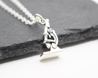 Microscope Necklace, Science Necklace, Gift for Scientist, Scientist Gift, Student Gift, Microscope Jewellery, Charm Necklace, Charm Jewelry