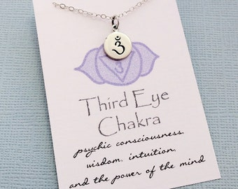 Yoga Gifts | Sanskrit Third Eye Chakra Necklace, Yoga Jewelry, Meditation Inspirational Chakra Jewelry, Spiritual Om Boho Jewelry, Fitness
