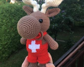 Crochet amigurumi Patrik-the paramedic moose toy