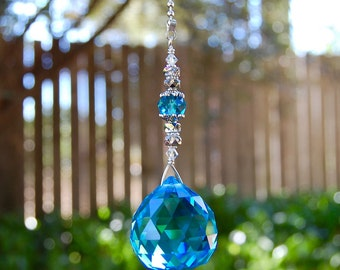 Blue Prism Crystal Ceiling Light Pull Chain, Fan Pull Chain Attachment, Ornament, Hanging Crystal Suncatcher Beaded Chain Pull, Home Decor