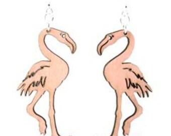 Flamingo - Wood Earrings
