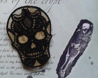 UK Black and gold lace sugar skull applique, trimming, choker centerpiece, cuff, fascinator