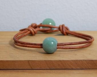 Green Aventurine Beads and Leather Bracelet, Boho bracelet, Women's leather bracelet, Beads &  leather bracelet, Leather jewelry, Item O5