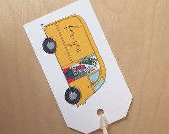 floral truck - for you - set of 6 mini gift tags - Rachelink hand drawn cards