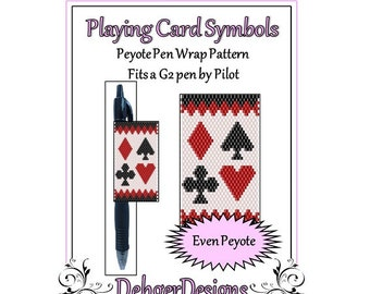 Peyote Beading Pattern (Pen Wrap/Cover)- Playing Card Symbols