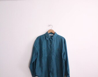 Minimal Teal Silk 90s Blouse