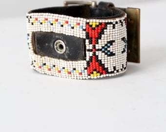 vintage Native American style beaded cuff, belted wide cuff
