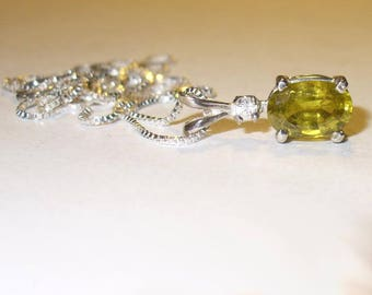 Genuine Chrysoberyl Pendant Necklace with Zircon Accent -  Fully Faceted Rare Mined From Earth Genuine Gemstones in Solid Sterling Silver